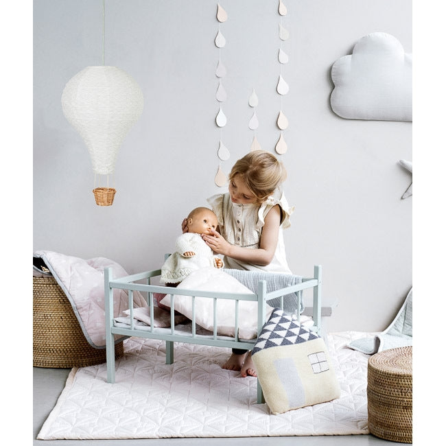 Doll's Cot Bedding by Cam Cam in Grey Wave