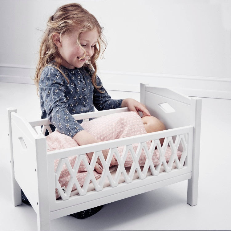 Cam Cam | Harlequin Doll's Bed | White