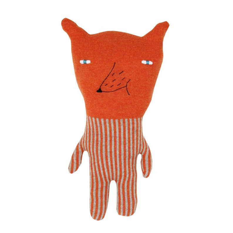 Colette Bream handmade knitted wool cushion/soft toy - Friendly Fox