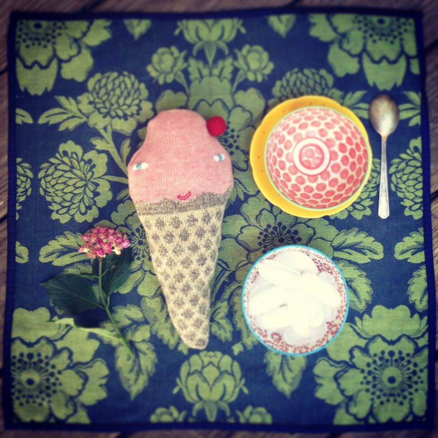 Colette Bream | Handknit Wool Soft Toy | Strawberry Ice Cream