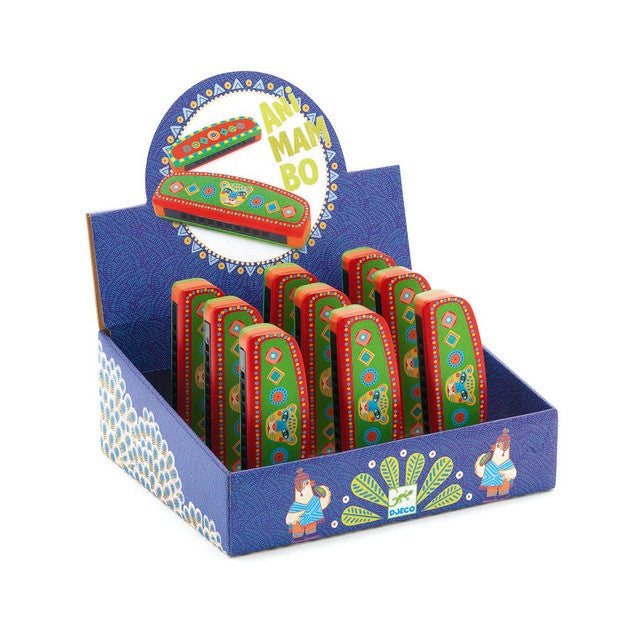 Djeco | Animambo Musical Instrument | Painted Wooden Harmonica | Milk Tooth