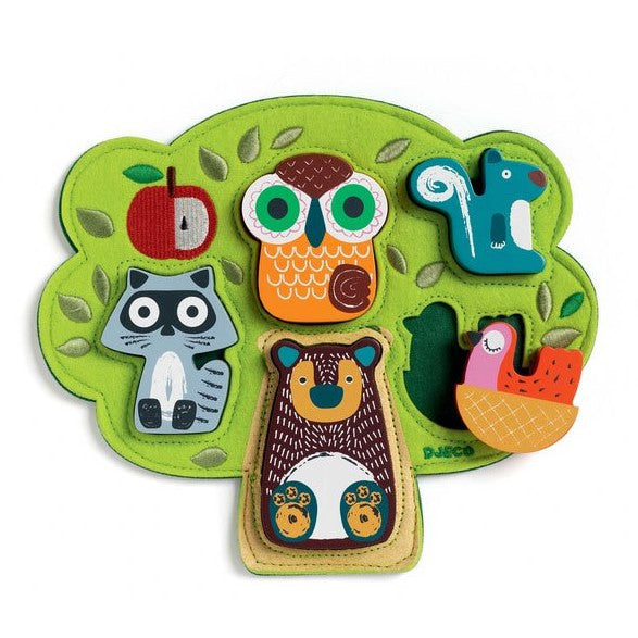 Djeco wood and felt tree puzzle - Oski