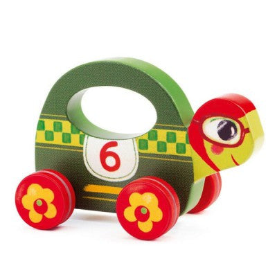 Djeco wooden turtle push along toy - racing baby push toy with wheels