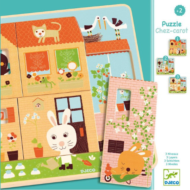 Djeco | Three-Layer Wooden Puzzle | Rabbits at Chez Carot