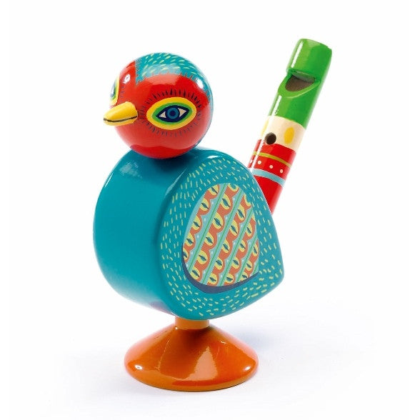 Djeco | Animambo Kids' Musical Instrument | Painted Wooden Bird Whistle | Milk Tooth