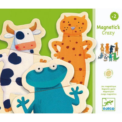 Djeco Magnetics | Crazy Animals mix and match wooden magnetic puzzle | Milk Tooth