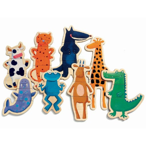 Djeco Magnetics - Crazy Animals mix and match wooden magnetic puzzle | Milk Tooth
