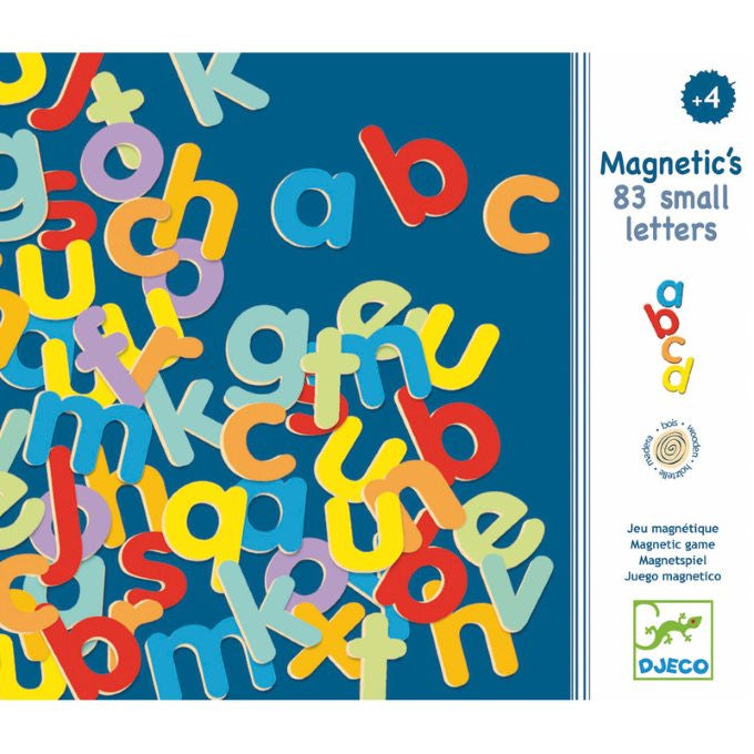 Djeco Magnetics | 83 Lower-Case Letters | Wooden Magnet Set | Alphabet Magnets | Milk Tooth