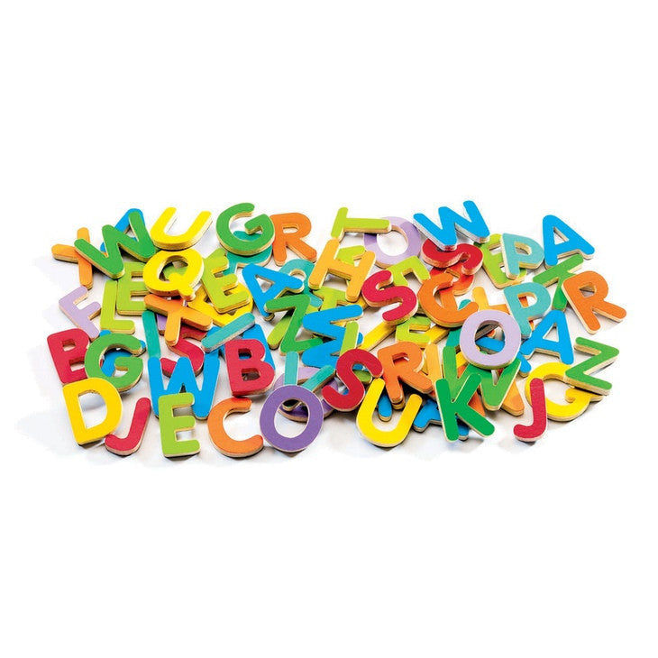 Djeco | Magnetics | Upper-Case Letters | 83-Piece Wooden Fridge Magnet Set