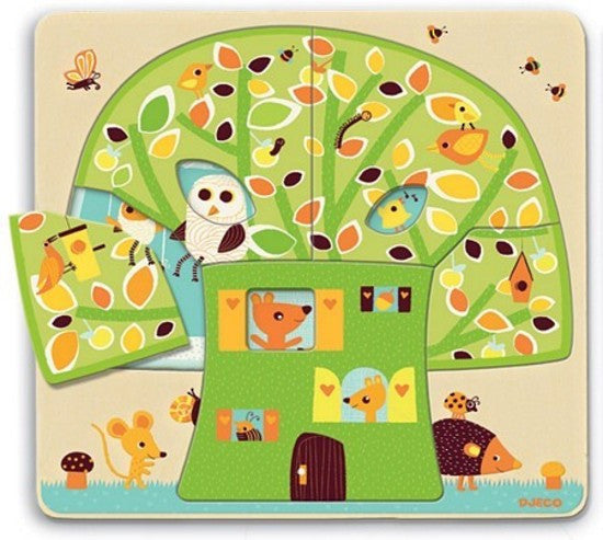 Djeco three-layer wooden puzzle - Tree house