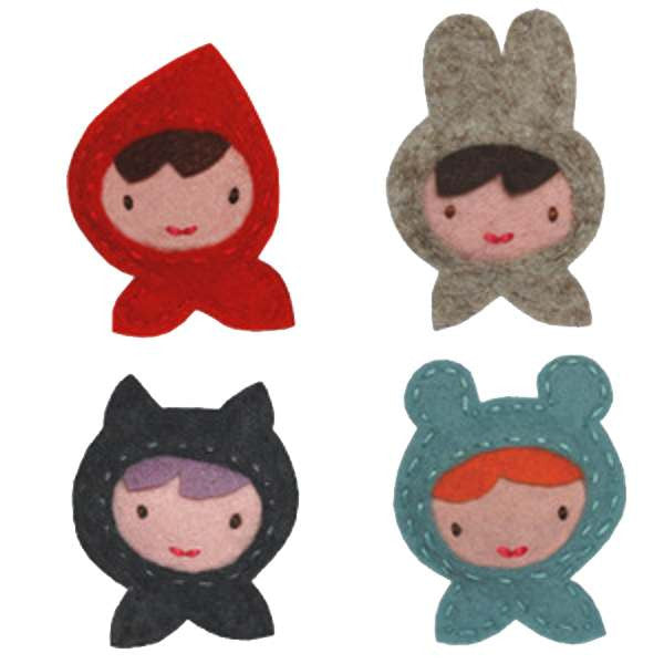 Giddy Giddy hair clip - big girl Little Miss Red, Miss Rabbit, Miss Bear or Miss Cat