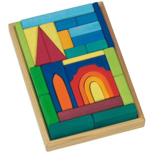 Gluckskafer | Wooden Building Blocks | Church with Tray