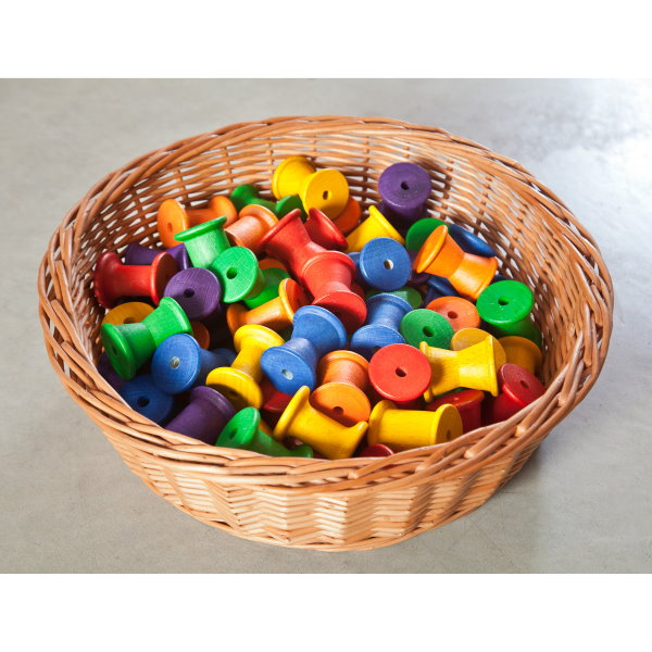 Grapat | Coloured Spools | 36 Pieces | Wooden Toys
