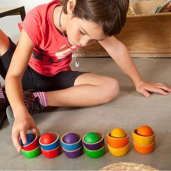 Grapat | Bowls and Balls | 18 Pieces | Coloured Wooden Toys