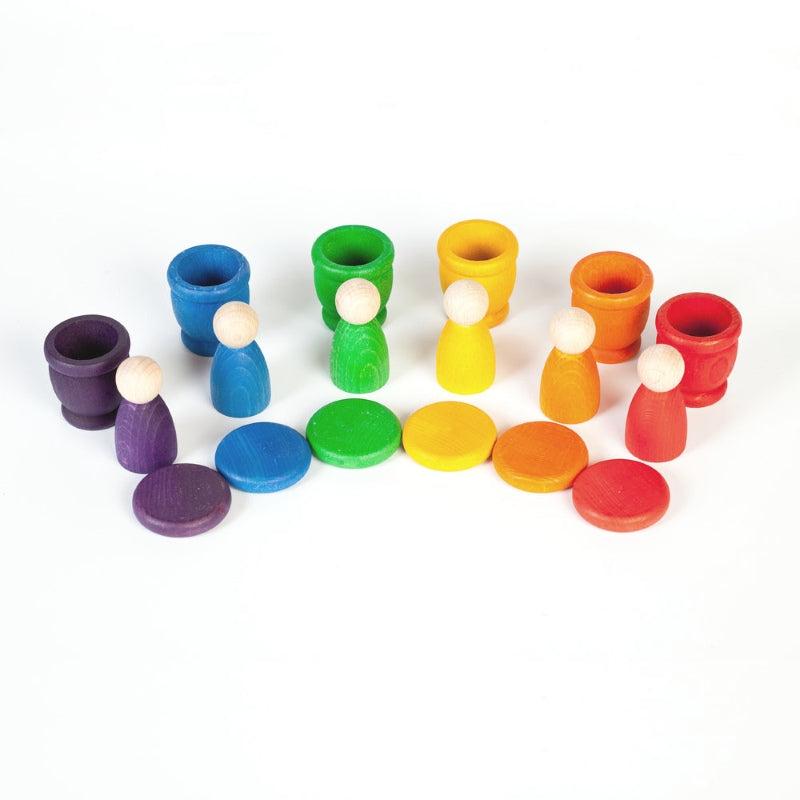 Grapat | Nins Mates and Coins | Rainbow | Wooden Toy Set