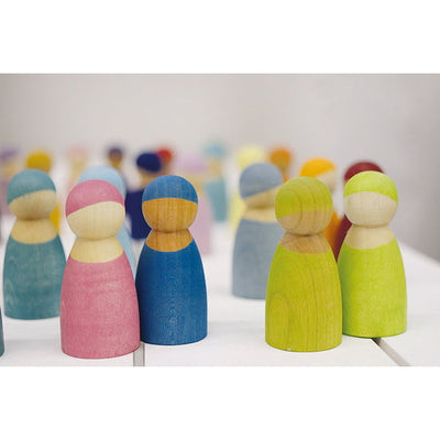 Grimm's | 12 Rainbow Friends | Cherrywood | Peg People Wooden Toys