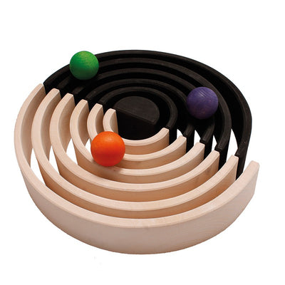 Grimm's Black & Natural Wooden Rainbow Stacking Toy