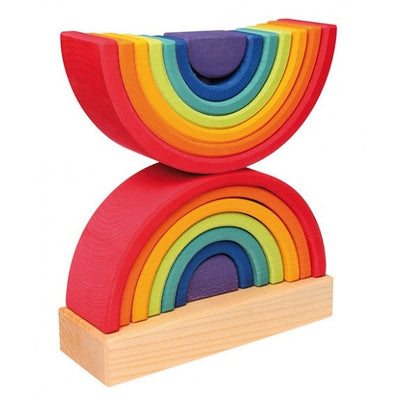 Grimm's | Wooden Rainbow Stacking Toy | Double Tower | Milk Tooth