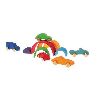 Grimm's | Small Wooden Rainbow Stacking Toy | Milk Tooth