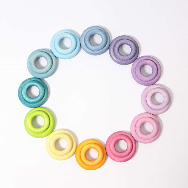 Grimm's | Building Rings | Pastel | Set of 24 Wooden Toys