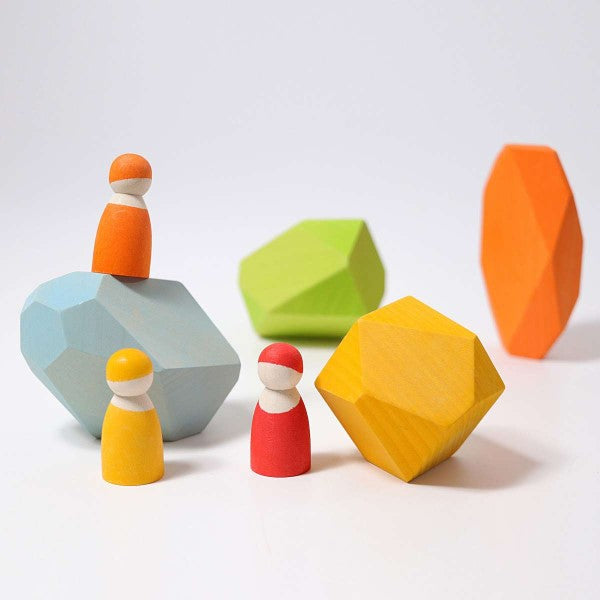 Grimm's | Coloured Wooden Gems | Stacking Rocks Toy