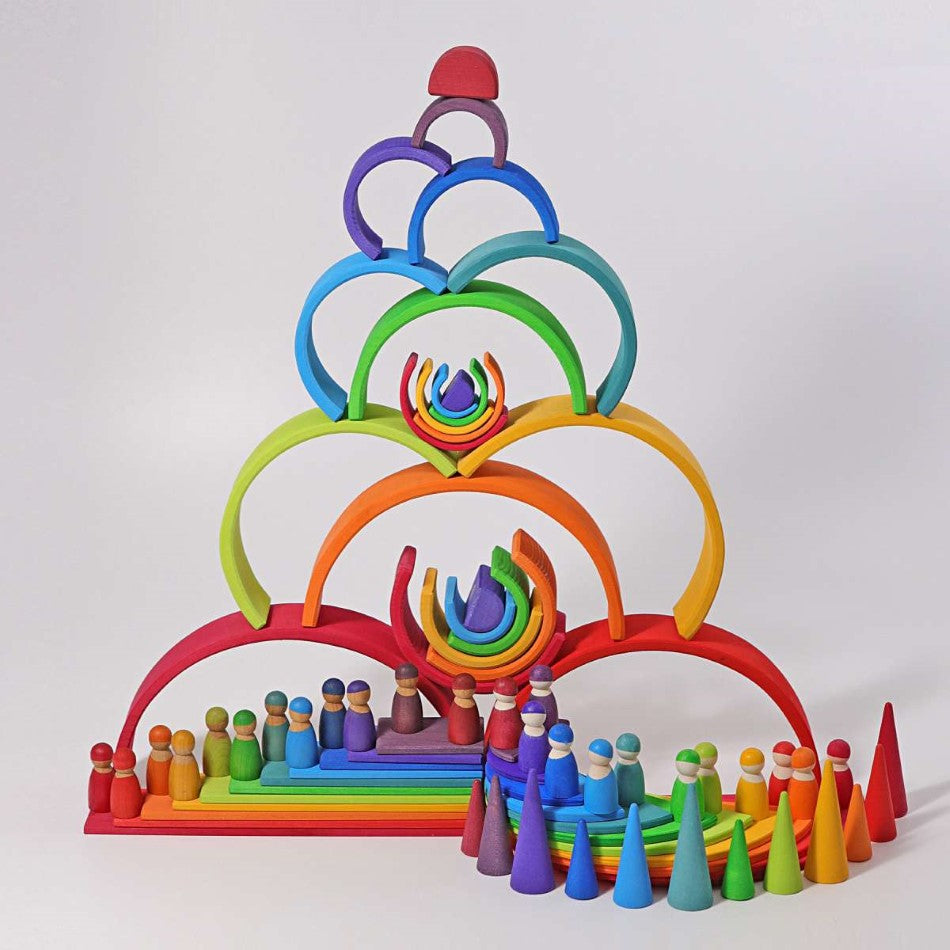Grimms Wooden Rainbow Stacking Toy Large