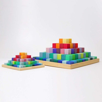 Grimm's | Stepped Pyramid | Large and Small | Rainbow Building Blocks