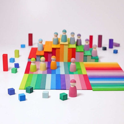Grimm's | Stepped Pyramid | Small | Rainbow Building Blocks styled with Building Boards & Rainbow Friends