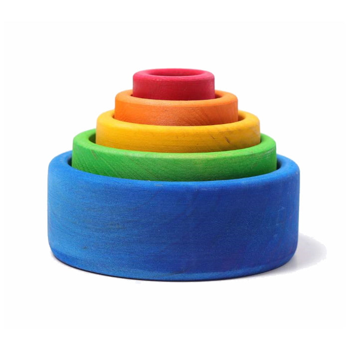 Grimm's | Coloured Stacking Bowls | Outside Blue
