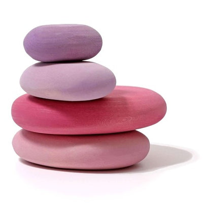 Grimm's | Building Set | Flamingo Pebbles | Pink Purple Wooden Stone Toys