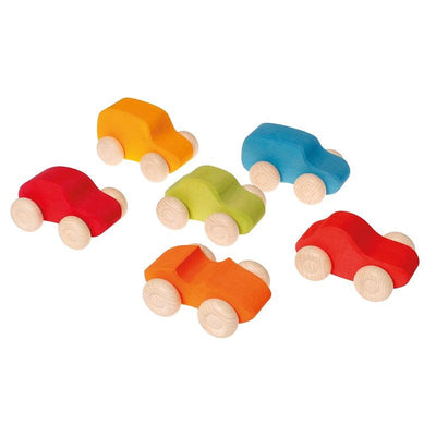 Grimm's | Coloured Wooden Cars | 6 Pieces