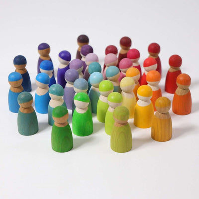 Grimm's Spiel Und Holz | 12 Pastel and 12 Rainbow Friends Peg Dolls