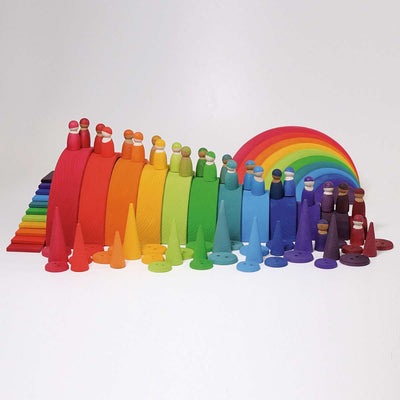 Grimm's Wooden Stacking Rainbow, Rainbow Friends, Semi-Circles and Cups