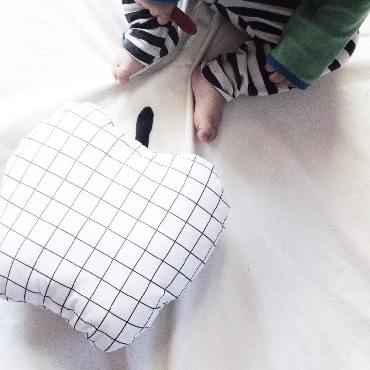 Inkibabinki | Black & White Grid Cushion | Apple | Milk Tooth