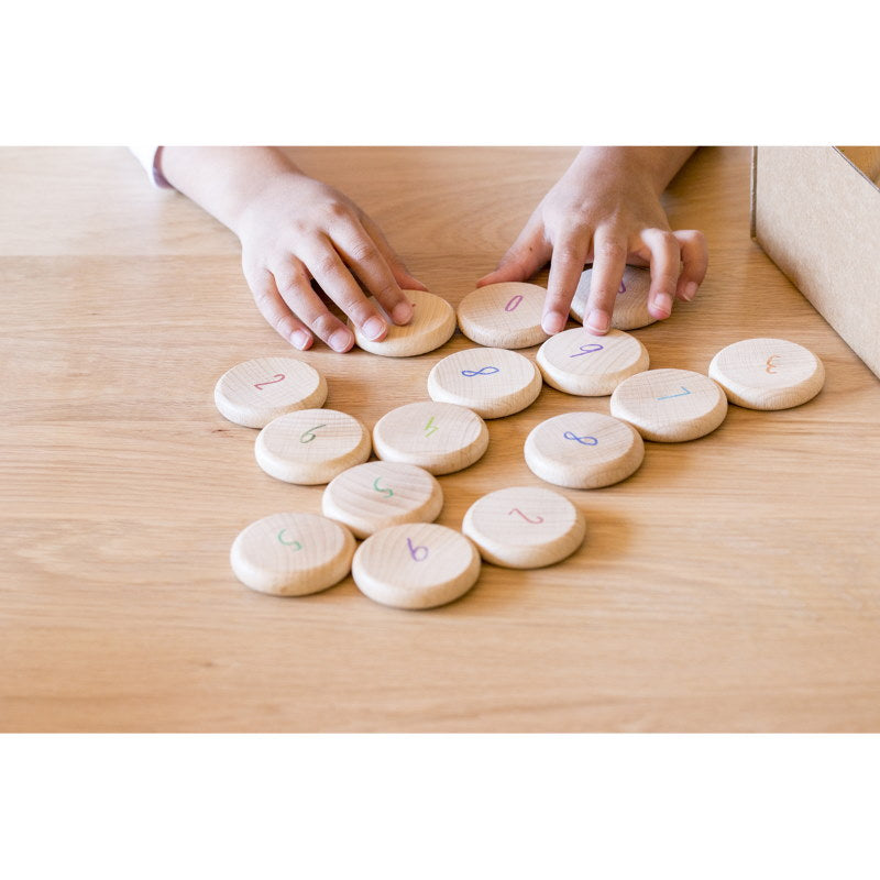 Grapat | Coins to Count | 60 Pieces | Numbered Wooden Toys