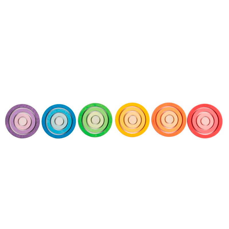 Grapat | Nest Rings | 24 Pieces | Concentric gradient rainbow wooden toys
