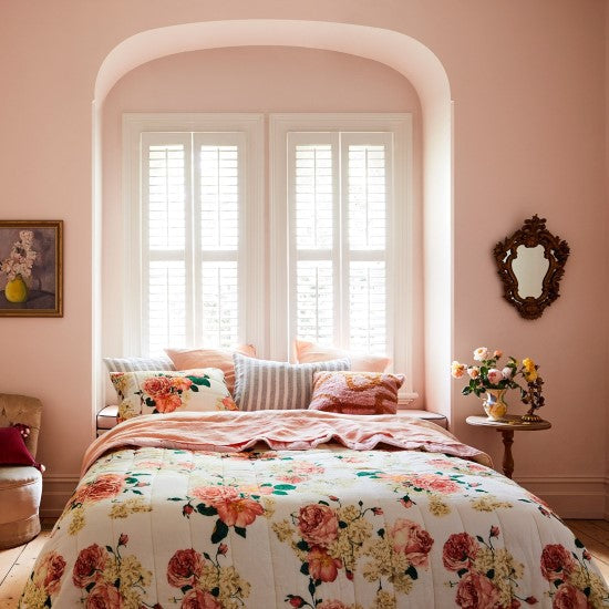 Kip and Co | Quilted Pillowcase Set of Two | Bed of Roses