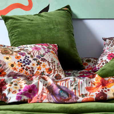Kip and Co | Fitted Sheet | Single | Field of Dreams styled with Garden Green Velvet