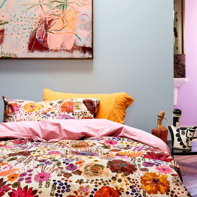 Kip and Co | Quilt Cover | Single | Field of Dreams styled with mustard yellow and pink purple