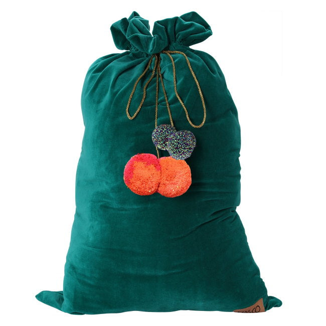 Kip and Co | Velvet Santa Sack | Jade Green