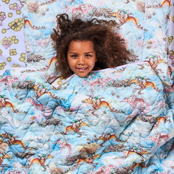 Kip and Co | May Gibbs | Quilted Bedspread Comforter | Single | Ocean Babes