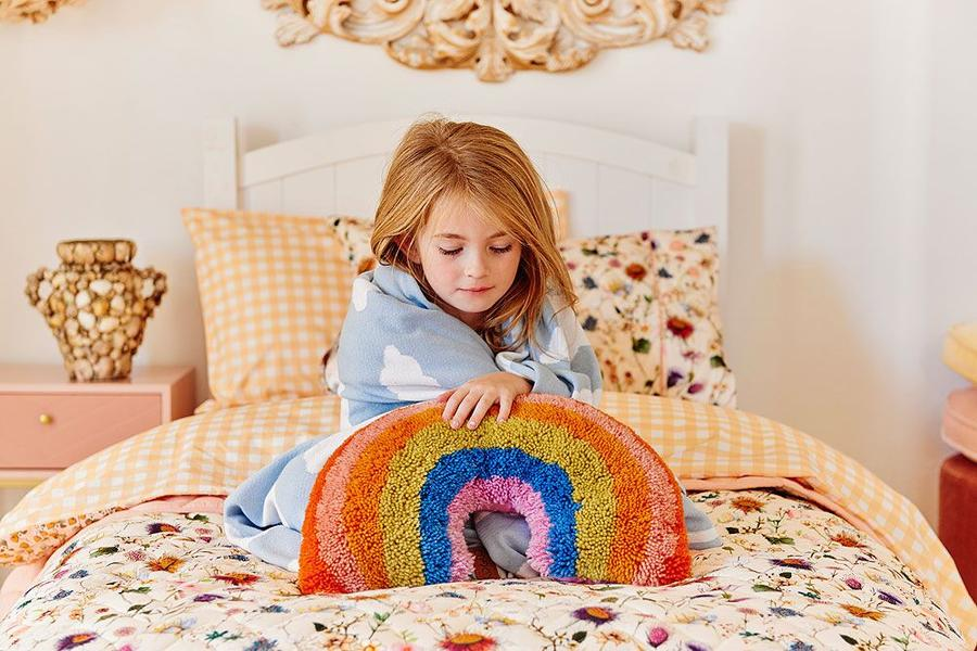 Kip and Co | Wool Shag Cushion | Rainbow