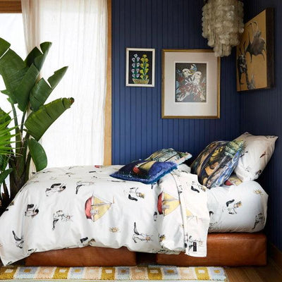 Kip and Co | Wild Things | Max Pillow Case Quilt Cover Fitted Sheet styled in blue room