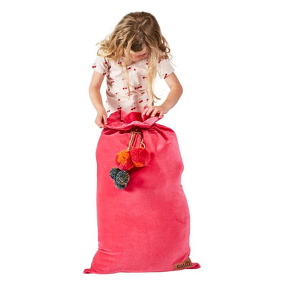 Kip and Co | Velvet Santa Sack | Neon Pink