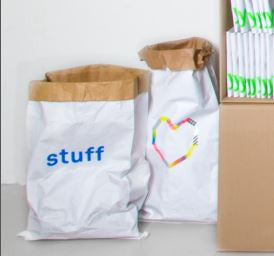 "Kolor paper storage bag - ""stuff"" in blue, and do-it-yourself (decorated)"