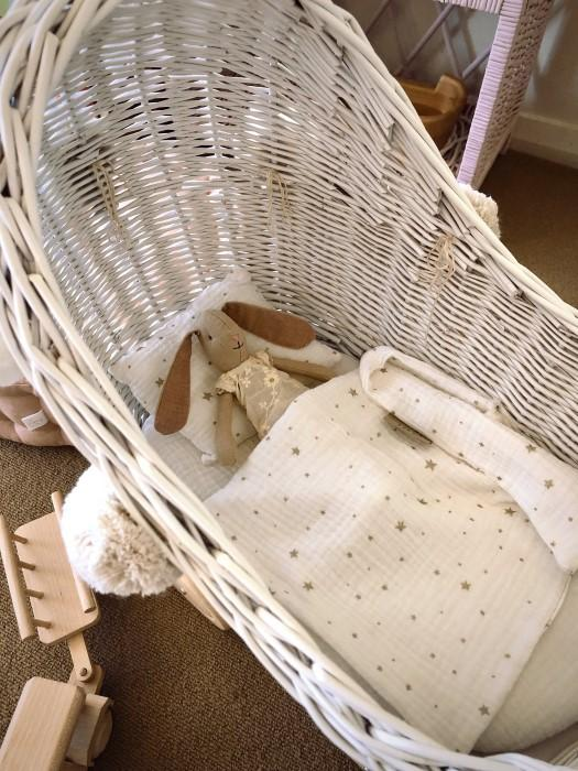 Lilu | Wicker High Doll's Pram | White with Pom Poms