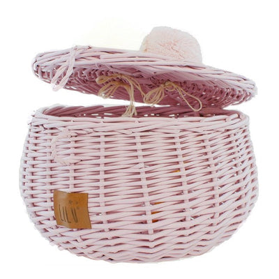 Lilu | Wicker Basket | Large | Dusty Pink