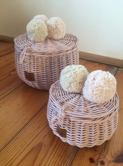 Lilu | Wicker Basket | Large and Small | Dusty Pink