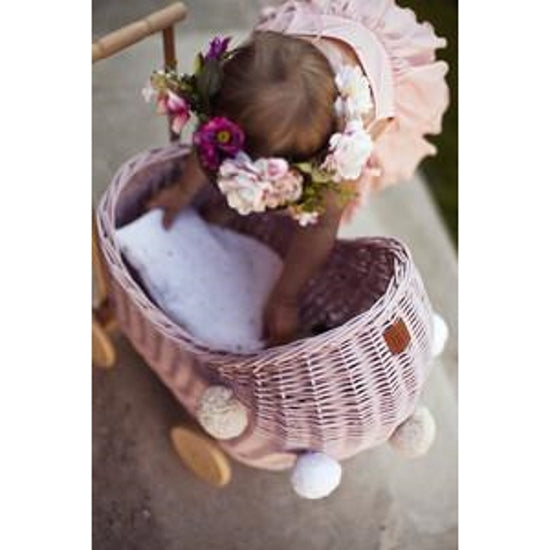 Lilu | Wicker Doll's Pram | Dusty Pink