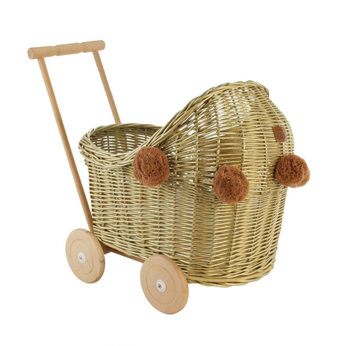 Lilu Wicker Doll's Pram Gold